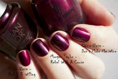 Morgan Taylor Rebel With A Cause vs. China Glaze Red-y & Willing, Don`t Make Me Wine