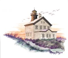 N.E. Block Island Lighthouse - Available as Signed and Numbered Limited Edition matted or unmatted lithographic print, tent fold note cards and designer prints.
