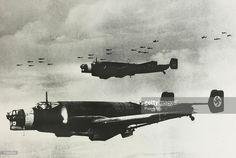circa 1939, Squadrons of German Junkers Ju 86 K bombers in flight