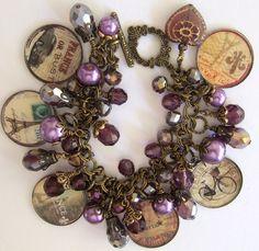 ❥ Altered Art Midnight in Paris Purple Haze Crystal Bronze Charm Bracelet