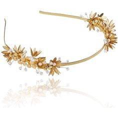 Linni Lavrova - Elfi Hairband With Golden Flowers ($150) ❤ liked on Polyvore featuring accessories, hair accessories, long hair accessories, flexible headbands, flower headbands, head wrap headband and flower headwrap
