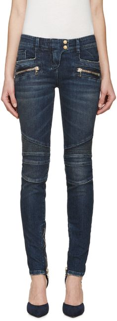 Skinny-fit biker jeans in blue. Seven pocket styling. Signature ribbed panelling at thighs. Skinny Biker Jeans, Biker Pants, Skinny Fit, Balmain Jeans, Balmain Clothing, Leather Jeans, Leather Jacket, Women's Jeans, Lava