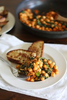 Spinach-Chickpea Saute with Fried Bread Toasts