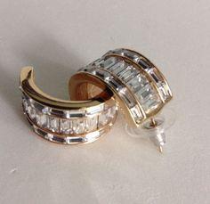 """BSK Vintage Baguette Rhinestone Half Hoop Earrings Pierced Stud .5"""" Wide  #BSK…"""