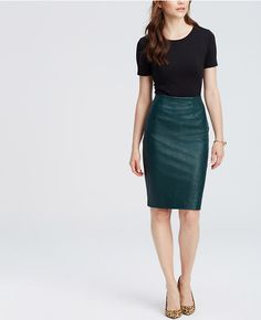 Fresh for Fall: Ann Taylor's dark green faux leather skirt. | A.T. ...