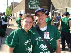 Perla G. and Josh wait for assignment from the union steward {circa 2012} This area on Clark st. just north of Waveland was taken over by the Rickett's and remodeled as offices for the Cubs