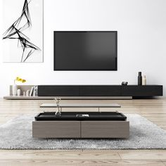 Kayla Wood Black and Gray Adjustable TV Stand Console with Storage, 79 Modern Tv Room, Living Room Modern, Living Room Decor Cozy, Living Room Sets, Tv Wall Design, Design Design, Living Room Tv Unit Designs, Tv Stand Console, Home Room Design