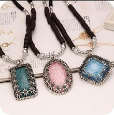 >> Click to Buy << OMH wholesale Green Pink Bule Fashion Jewelry Rectangle Oval  Imitation Gem Pendant Alloy Beads Chain Women Necklace XL132 #Affiliate
