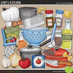 Chef's Kitchen: Cookery digital scrapbook elements / cute kitchen and cooking clip art! Hand-drawn doodles and illustrations for digital scrapbooking, crafting and teaching resources from Kate Hadfield Designs. Cooking Clipart, Food Clipart, Printable Recipe Cards, Printable Crafts, Printables, Cute Kitchen, Kitchen Art, Family Recipe Book, Recipe Scrapbook