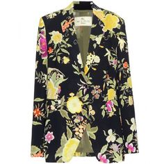 Etro Floral Printed Crêpe Blazer ($1,065) ❤ liked on Polyvore featuring outerwear, jackets, blazers, blazer, multicoloured, blazer jacket, etro jacket, black floral blazer, multi color jacket ve black blazer jacket