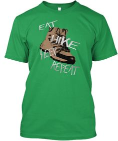 Eat Hike Sleep Kelly Green T-Shirt Front