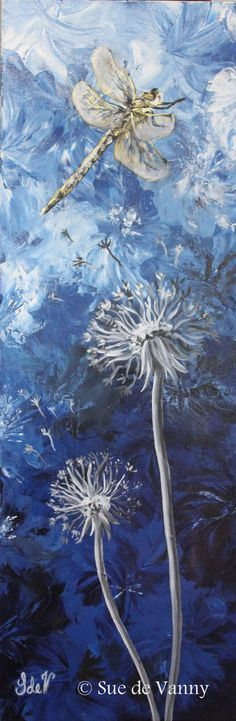 Dragonfly and Dandelions - 2 Acrylic on Canvas 30 x 90 cm for sale Dandelion Nursery, Dandelion Painting, Dragonfly Painting, Dragonfly Wall Art, Dandelion Wish, Dandelions, Mixed Media Artists, Paint Party, Canvas Art