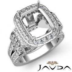 Radiant Diamond Fine Antique Anniversary Semi Mount Ring 14k White Gold 2 65ct | eBay