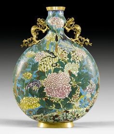 A Cloisonné enamel moon flask   China, Qianlong mark and of the period, H 55 cm.