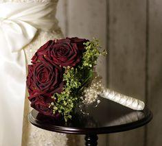 Wedding Flowers - Velvet Rose & Pearl Bridal Bouquet of Bordeaux Red Roses - Silk Wedding Flowers. $150.00, via Etsy.