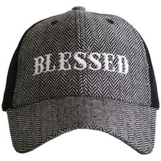 Katydid Collection Gray & White Herringbone 'Blessed' Trucker Hat (145 SEK) ❤ liked on Polyvore featuring accessories, hats, gray trucker hat, distressed trucker cap, gray hat, herringbone hat and grey trucker hat