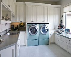 traditional laundry room with modern touch