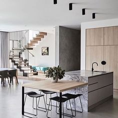 Love this kitchen inspiration! The touches of black!! The timber and marble combo!!! . Project by: @thomasarcherhomes Image via: @fisherpaykelau Styling by: @aimeestylist . #architecture #kitchendesign #interiordesign #lifestyle #inspiration