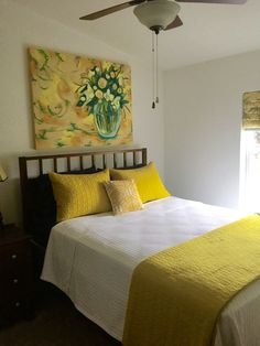 Yellow and white bedroom Artwork by: Hallie Harris