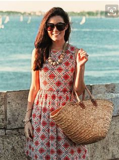Spring 2016 stitch fix red white mosaic shift dress with straw bag.  Resort wear.