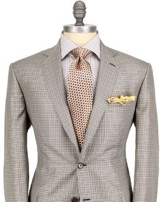 Brioni Taupe, Brown, and Black Check Sportcoat
