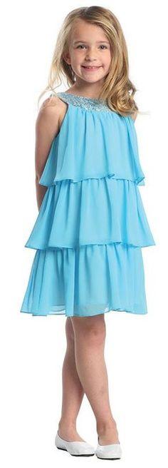 Sweet Kids Girls Triple Tiered Chiffon Flirty Party Flower Girl Dress (Off White)
