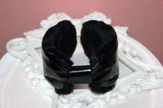 Fur earmuffs women, black patent leather headphones, skiing ear turban, running earmuffs, ear warmer headband