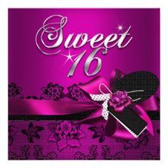 Sweet 16 Sixteen Black Lace Plum Pink Rose Custom Invitation