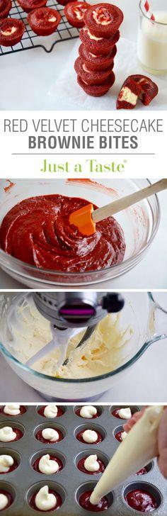 Red Velvet Cheesecake Brownie Bites #recipe via justataste.com
