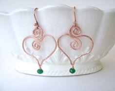 Heart Earrings Gemstone Jewelry Copper Hearts by MariesGems
