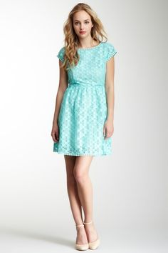 {Kensie Short Sleeve Lace Dress} pretty aqua blue :)