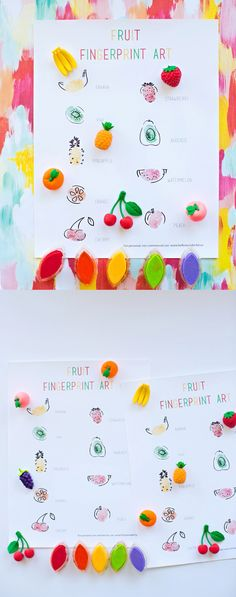 Fruit Fingerprint Art with Free Printable Template. Cute toddler or preschool art project for the summer!