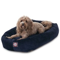 """Majestic Pet Products 32"""" Navy Villa Collection Micro-Velvet Bagel Bed By Majestic Pet Products"""