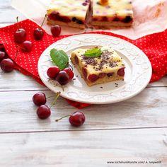 Weichsel-Rahmschnitten Sommerkuchen mit Sauerkirschen Snacks, French Toast, Cheesecake, Cooking, Breakfast, Desserts, Food, Oven, Dessert Ideas