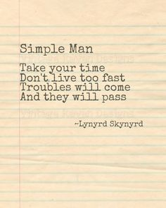 Simple Man Lynyrd Skynyrd Lyrics | Digital Download