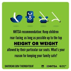 Keep kids in rear-facing car seats for as long as possible up to the top height OR weight allowed by their car seat. Learn more at safercar.gov.