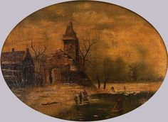 """Monogrammist CHJ, """"ice skating in front of the city"""", oil on canvas, old Dutch painting, oval framed in the style of the period, early 19th Century., Monogrammed lower right 'CHJ'. Painting: H = 50.0 B = 66.0 cm, frame: H = 75,5 B = 91,5 cm -   Anbieter Gut Bernstorf  Saalauktion Ausruf: 600.00EUR"""