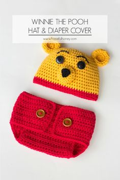 Winnie The Pooh Inspired Hat & Diaper Cover - Free Crochet Pattern
