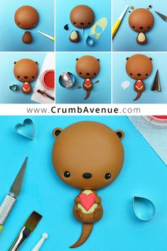 Cute Valentine Otter - Free Tutorial - click for amounts & instructions / fondant, gum paste, cake, cupcake, topper