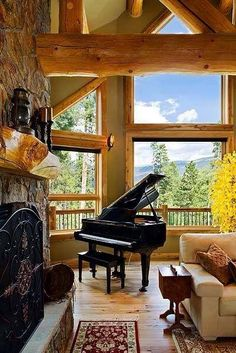 Play piano with outdoor inspiration! Grand piano decor, well done!