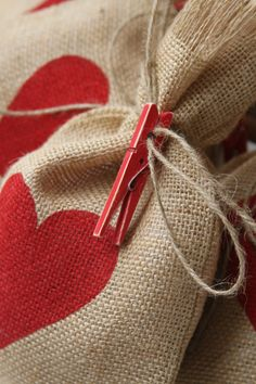 Burlap Gift Bags Set of FOUR Valentines Day Shabby by FourRDesigns