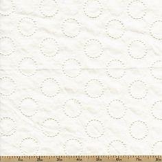 Rebecca Embroideries Circles Cotton Fabric - White