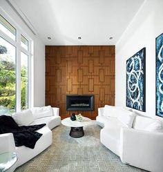 salon design contemporain avec boiserie moderne et moquette