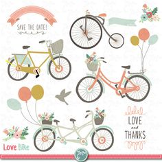 Wedding Bike Clipart pack WEDDING CLIP ART by YenzArtHaut on Etsy, $5.00