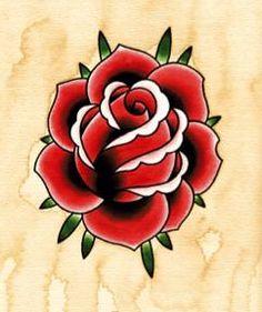 Red Rose Tattoo Art Flash by Angelique Houtkamp Tattoo Old School, Old School Tattoo Designs, Rosa Old School, Old School Rose, Rose Tattoos, Flower Tattoos, New Tattoos, Random Tattoos, Wing Tattoos