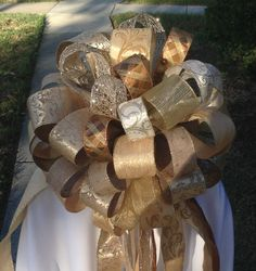 Extra Large Gold Tree Topper  Christmas Bow  by BasketsFromAtoZ