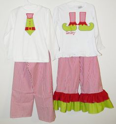 Coordinating brother sister Christmas applique elf shirts with matching pants. $69.00, via Etsy.