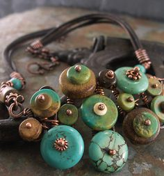 I finally finished a whole set of turquoise button-type stuff. Here it is:     The Bracelet (sold--but I'm making another one)        (Littl...