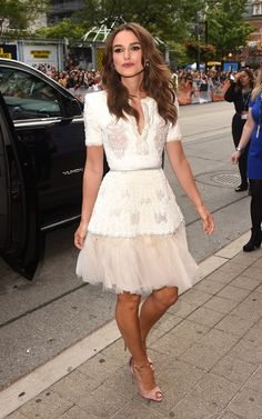 Keira Knightley looking amazingly stylish in a pretty, feminine dress with light pink peep toe heels