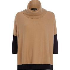 Beige cowl neck jumper - jumpers - knitwear - women